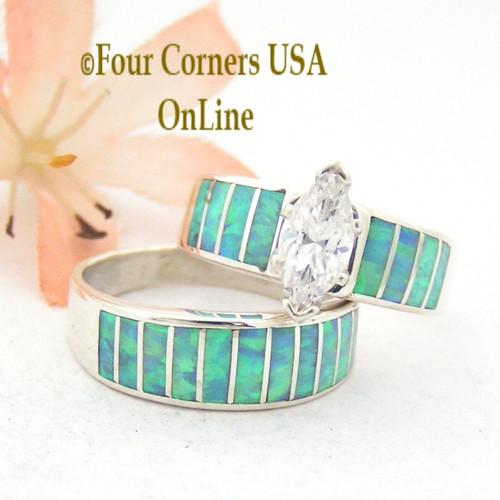 Size 9 Light Blue Fire Opal Wedding Engagement Ring Set Ella Cowboy WS-1515 Four Corners USA OnLine Native American Jewelry