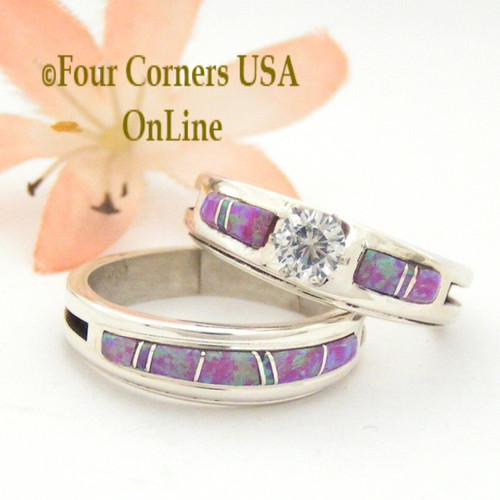 Size 9 1/2 Pink Fire Opal Engagement Bridal Wedding Ring Set Native American Wilbert Muskett Jr WS-1541 Four Corners USA OnLine Navajo Jewelry