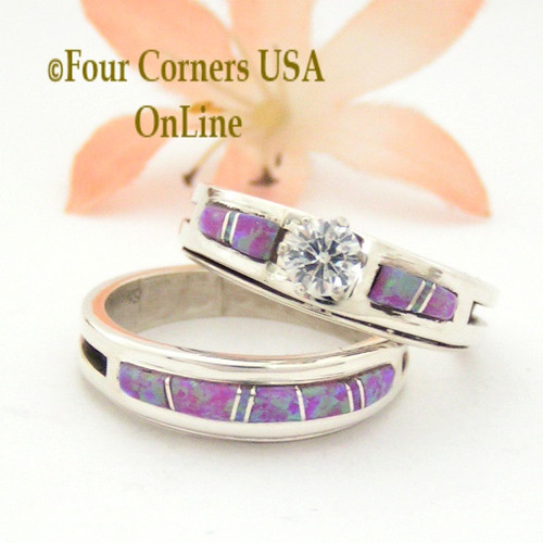 Size 10 Pink Fire Opal Engagement Bridal Wedding Ring Set Native American Wilbert Muskett Jr WS-1542 Four Corners USA OnLine Navajo Jewelry