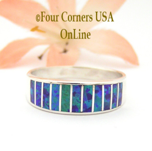 Size 10 Purple Fire Opal Inlay Wedding Band Ring Ella Cowboy WB-1621 Four Corners USA Online Jewelry
