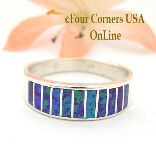 Size 10 Purple Fire Opal Inlay Wedding Band Ring Ella Cowboy WB-1620 Four Corners USA Online Jewelry