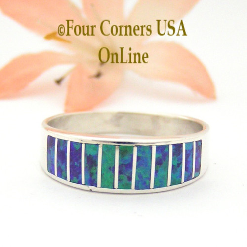 Size 10 1/2 Purple Fire Opal Inlay Wedding Band Ring Ella Cowboy WB-1623 Four Corners USA Online Jewelry