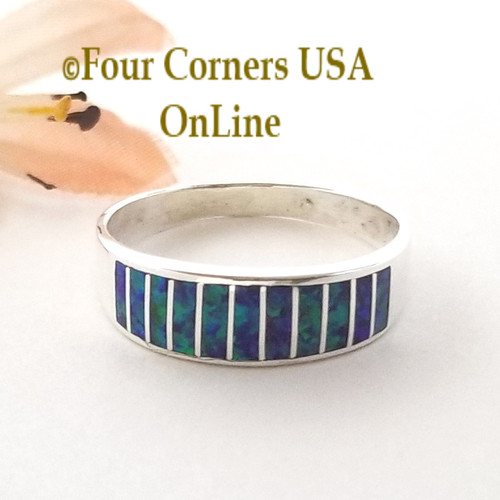 Size 12 1/4 Purple Fire Opal Inlay Wedding Band Ring Navajo Ella Cowboy WB-1626 Four Corners USA Online Native American Jewelry