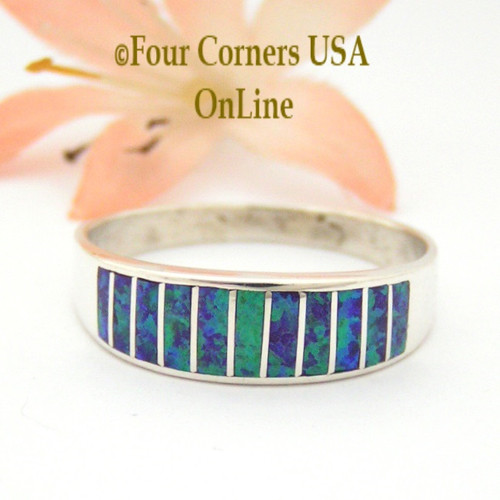 Size 13 Purple Fire Opal Inlay Wedding Band Ring Ella Cowboy WB-1628 Four Corners USA Online Jewelry