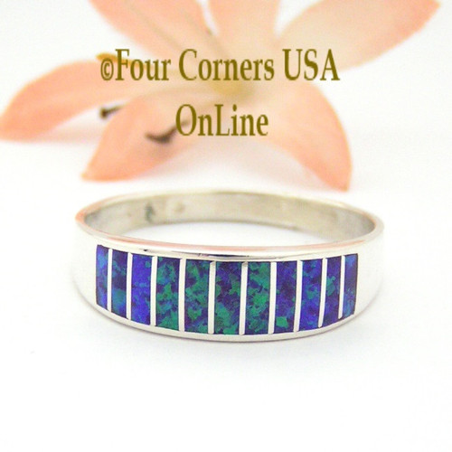Size 13 1/2 Purple Fire Opal Inlay Wedding Band Ring Ella Cowboy WB-1629 Four Corners USA Online Jewelry
