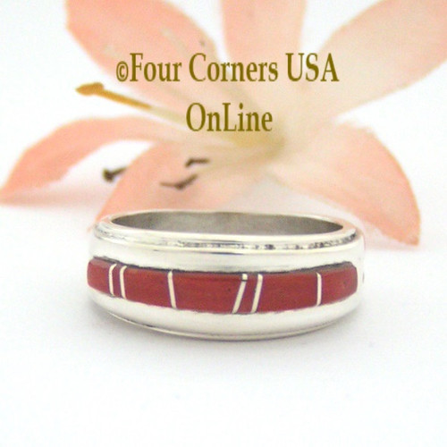 Size 5 Red Coral Inlay Ring Native American Wilbert Muskett Jr WB-1631 Four Corners USA OnLine Sterling Silver Jewelry