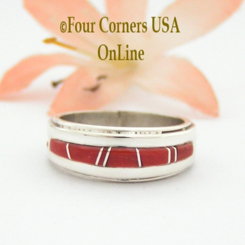 Size 5 1/2 Red Coral Inlay Ring Native American Wilbert Muskett Jr WB-1632 Four Corners USA OnLine Navajo Sterling Silver Jewelry