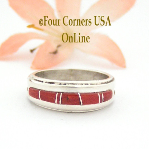 Size 6 1/4 Red Coral Inlay Ring Native American Wilbert Muskett Jr WB-1633 Four Corners USA OnLine Navajo Sterling Silver Jewelry