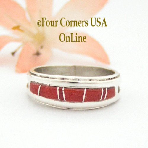 Size 7 1/2 Red Coral Inlay Ring Native American Wilbert Muskett Jr WB-1636 Four Corners USA OnLine Navajo Sterling Silver Jewelry