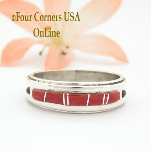 Size 9 1/2 Red Coral Inlay Ring Native American Wilbert Muskett Jr WB-1640 Four Corners USA OnLine Navajo Silver Jewelry