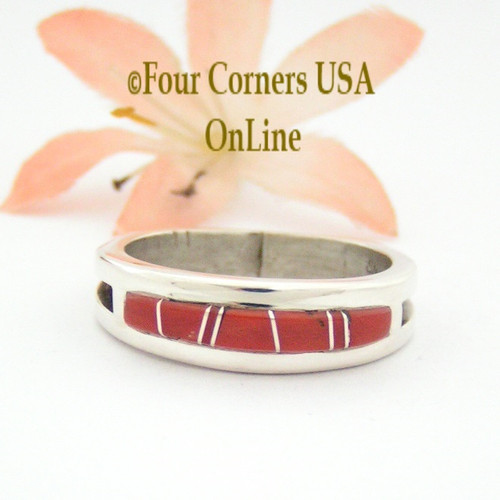 Size 11 Red Coral Inlay Ring Native American Wilbert Muskett Jr WB-1643 Four Corners USA OnLine Navajo Silver Jewelry