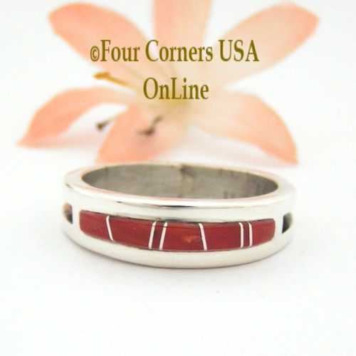 Size 11 1/2 Red Coral Inlay Ring Native American Wilbert Muskett Jr WB-1644 Four Corners USA Online Navajo Sterling Silver Jewelry