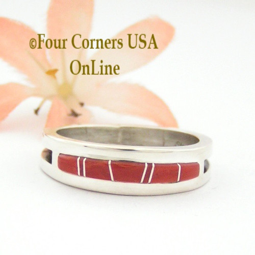 Size 12 Red Coral Inlay Ring Native American Wilbert Muskett Jr WB-1645 Four Corners USA OnLine Navajo Silver Jewelry