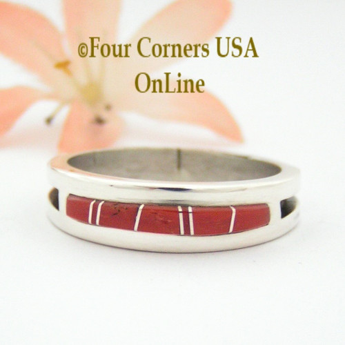 Size 13 Red Coral Inlay Ring Native American Wilbert Muskett Jr WB-1647 Four Corners USA OnLine Navajo Silver Jewelry