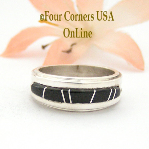 Size 5 Jet Inlay Ring Native American Wilbert Muskett Jr WB-1648 Four Corners USA OnLine Navajo Sterling Silver Jewelry
