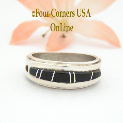 Size 6 1/2 Jet Inlay Ring Native American Wilbert Muskett Jr WB-1651 Four Corners USA OnLine Navajo Sterling Silver Jewelry