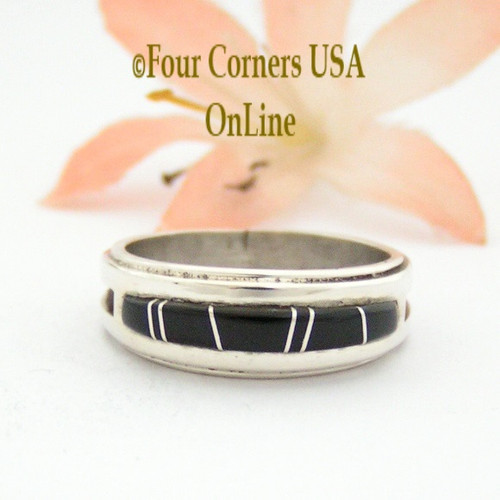 Size 7 1/2 Jet Inlay Ring Native American Wilbert Muskett Jr WB-1653 Four Corners USA OnLine Navajo Sterling Silver Jewelry