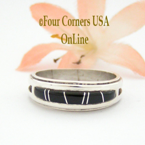 Size 9 Jet Inlay Ring Native American Wilbert Muskett Jr WB-1656 Four Corners USA OnLine Navajo Sterling Silver Jewelry