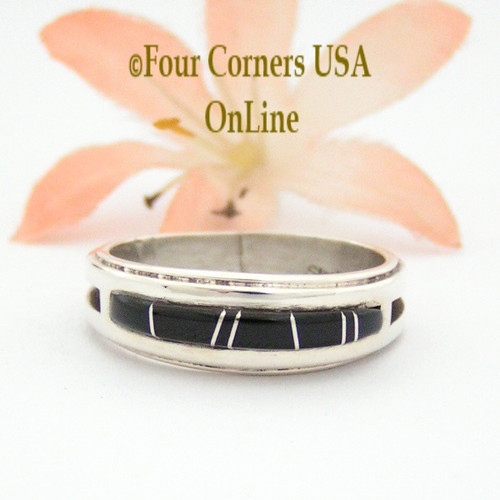 Size 9 1/2 Jet Black Inlay Ring Native American Wilbert Muskett Jr WB-1657 Four Corners USA OnLine Navajo Sterling Silver Jewelry