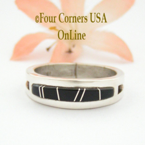Size 11 Jet Inlay Ring Native American Wilbert Muskett Jr WB-1660 Four Corners USA OnLine Navajo Sterling Silver Jewelry