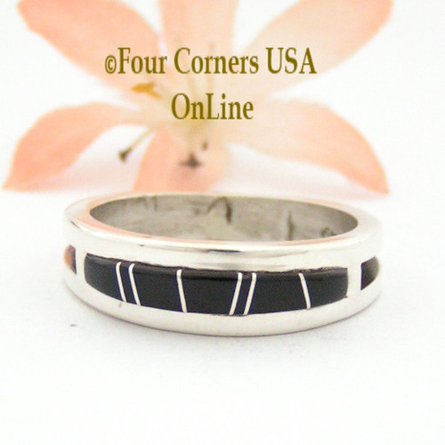 Size 12 Jet Inlay Ring Native American Wilbert Muskett Jr WB-1662 Four Corners USA OnLine Navajo Sterling Silver Jewelry