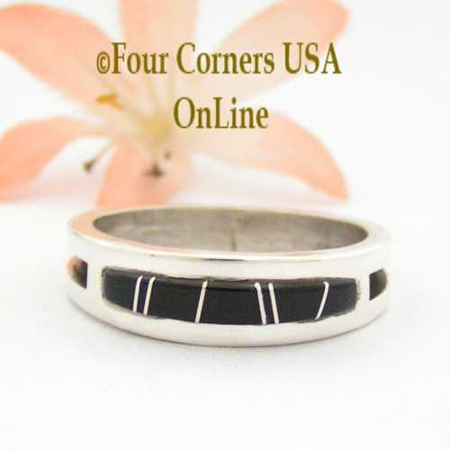 Size 13 Jet Inlay Ring Native American Wilbert Muskett Jr WB-1664 Four Corners USA OnLine Navajo Sterling Silver Jewelry