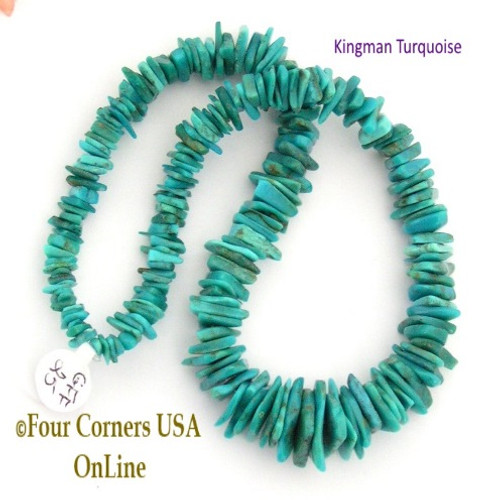 On Sale Now! 17mm Graduated FreeForm Slice Kingman Turquoise Beads Designer 16 Inch Strand Four Corners USA OnLine Jewelry Making Beading Craft Supplies GFF25