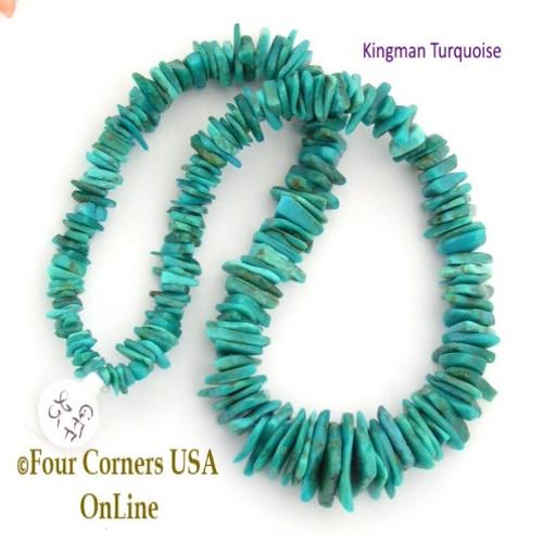 17mm Graduated FreeForm Slice Kingman Turquoise Beads Designer 16 Inch Strand Jewelry Making Supplies GFF25