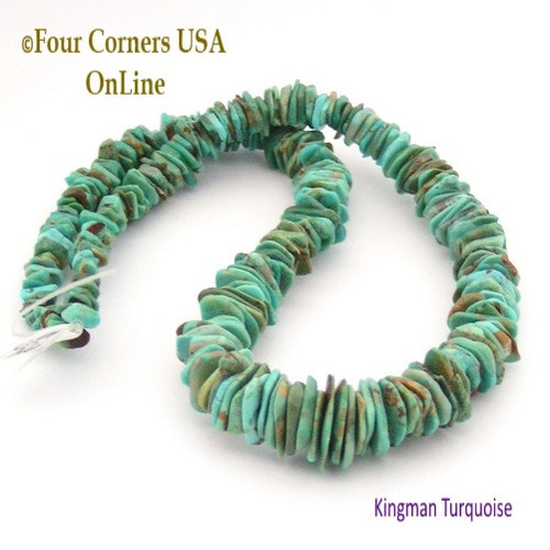 On Sale Now! 13mm Graduated FreeForm Slice Kingman Turquoise Beads Designer 16 Inch Strand Four Corners USA OnLine Designer Jewelry Making Beading Craft Supplies GFF26