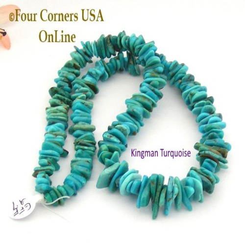 On Sale Now! 17mm Graduated FreeForm Slice Kingman Turquoise Beads Designer 16 Inch Strand Four Corners USA OnLine Designer Jewelry Making Beading Craft Supplies GFF27