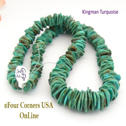 On Sale Now! 14mm Graduated FreeForm Slice Kingman Turquoise Beads Designer 16 Inch Strand Four Corners USA OnLine Jewelry Making Beading Craft Supplies GFF32