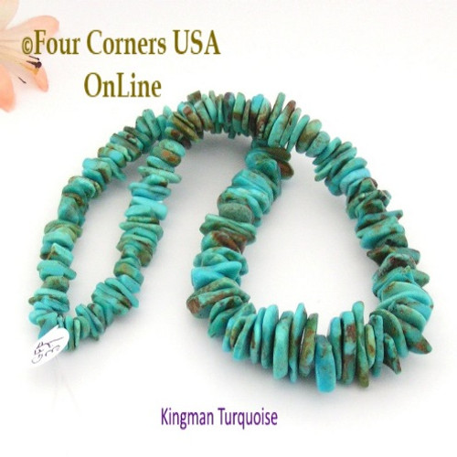 On Sale Now! 18mm Graduated FreeForm Slice Kingman Turquoise Beads 16 Inch Strand Four Corners USA OnLine Designer Jewelry Making Beading Craft Supplies GFF37