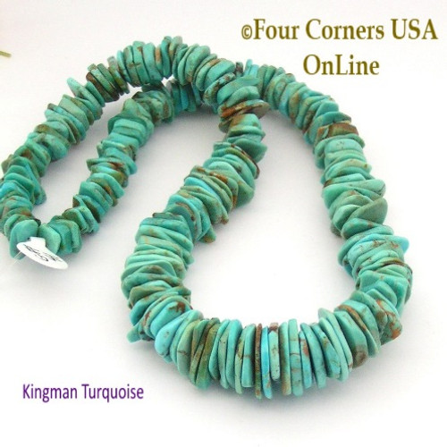 On Sale Now! 18mm Graduated FreeForm Slice Kingman Turquoise Beads Designer 16 Inch Strand Jewelry Making Supplies GFF41 Four Corners USA OnLine