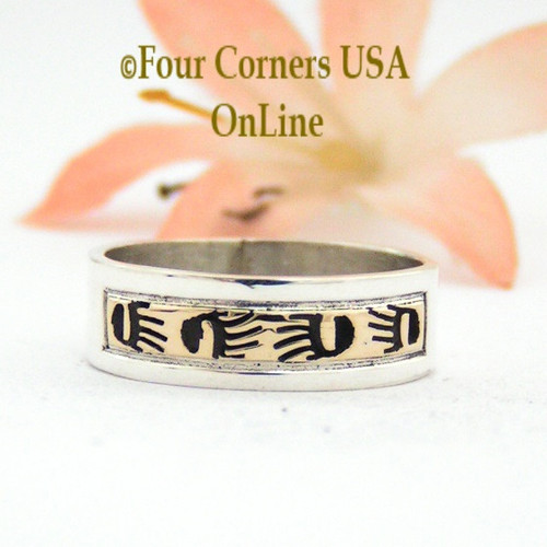 Size 7 Ring 14K Gold and Sterling Band Native American Scott Skeets Bear Tracks Jewelry NAR-1555 Four Corners USA OnLine Navajo Jewelry