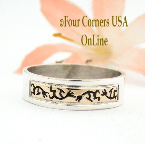 Size 9 Ring 14K Gold and Sterling Kokopelli Native American Wedding Band Style Scott Skeets Jewelry NAR-1562 Four Corners USA OnLine