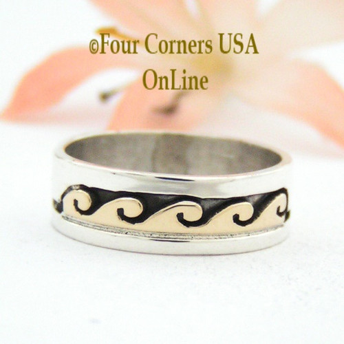 Size 6 Ring 14K Gold Silver Wave Water Symbol Native American Wedding Band Style Scott Skeets NAR-1564 Four Corners USA OnLine