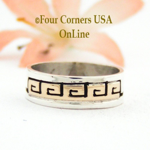 Size 6 Ring 14K Gold and Sterling Silver Spirals Band Native American Navajo Scott Skeets Jewelry NAR-1565 Four Corners USA OnLine