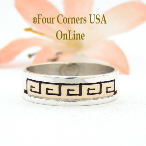 Size 8 Ring 14K Gold and Sterling Silver Spirals Band Native American Navajo Scott Skeets Jewelry NAR-1566 Four Corners USA OnLine