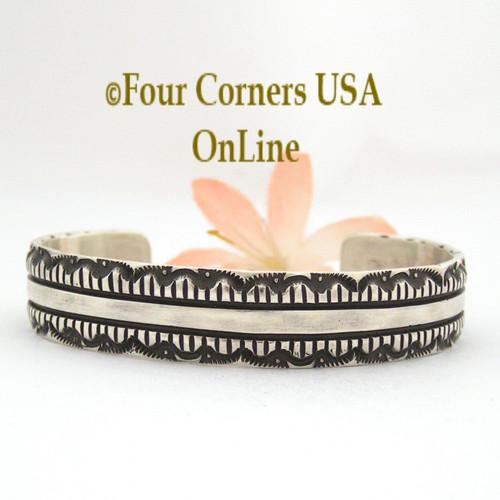 Heavy Stamped Silver Cuff Bracelet Navajo Elvira Bill Native American Jewelry NAC-1428 Four Corners USA OnLine