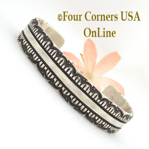 Heavy Stamped Silver Cuff Bracelet Navajo Elvira Bill Native American Jewelry NAC-1428 Four Corners USA OnLine