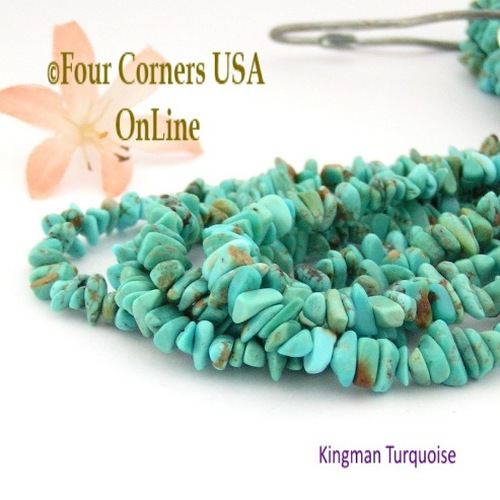 On Sale Now! 6mm Blue Green Kingman Turquoise Nugget Bead Strands Group 30 Four Corners USA OnLine Jewelry Making Supplies