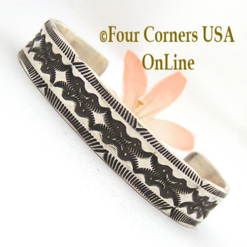 Heavy Stamped Silver Cuff Bracelet Navajo Elvira Bill Four Corners USA OnLine Native American Jewelry NAC-1429
