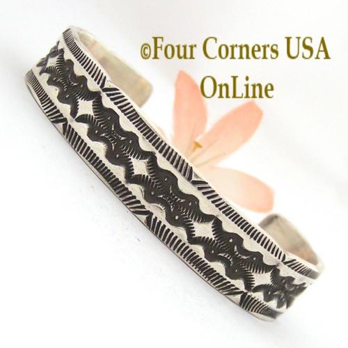 Heavy Stamped Silver Cuff Bracelet Navajo Elvira Bill Four Corners USA OnLine Native American Jewelry NAC-1429