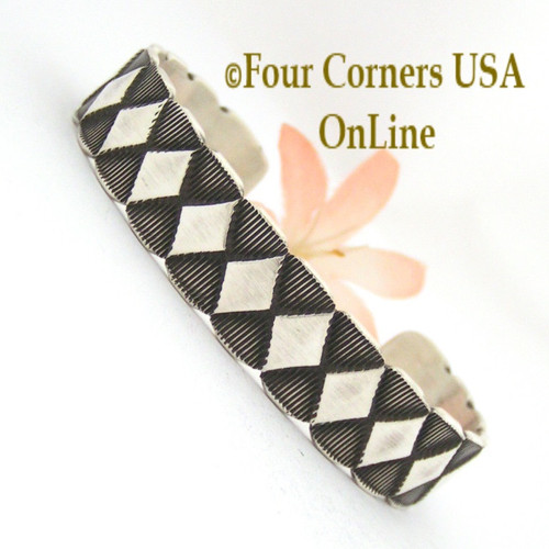 Heavy Stamped Silver Cuff Bracelet Navajo Elvira Bill Native American Jewelry NAC-1430 Four Corners USA OnLine Shopping
