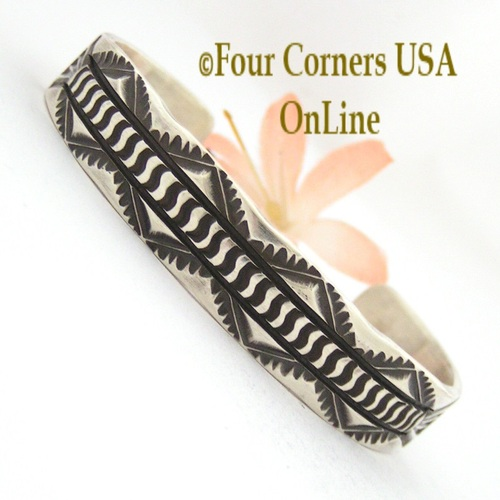 Heavy Stamped Silver Cuff Bracelet Navajo Elvira Bill Native American Jewelry On Sale Now NAC-1432 Four Corners USA OnLine Shopping