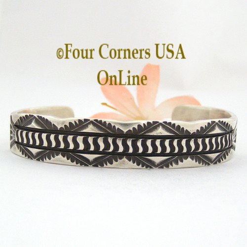 On Sale Now Heavy Stamped Silver Cuff Bracelet Navajo Elvira Bill Native American Jewelry NAC-1432 Four Corners USA OnLine Shopping