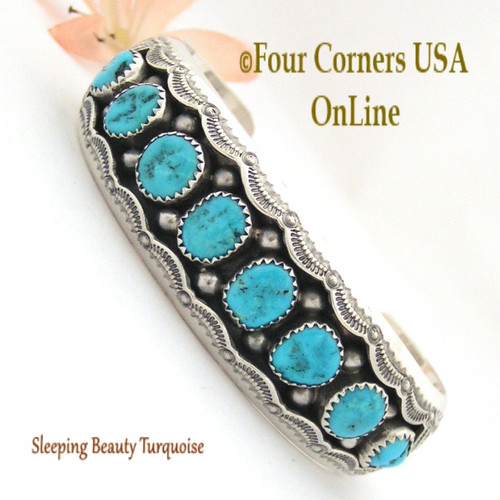 Sleeping Beauty Turquoise Shadow Box Cuff Bracelet Navajo Wilbert Muskett NAC-1433 Four Corners USA OnLine Native American Jewelry