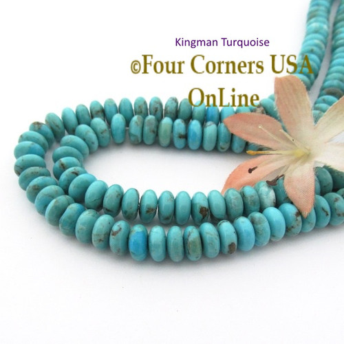 8mm Rondelle Kingman Blue Turquoise Beads 16 Inch Strands TQ-17120 Four Corners USA OnLine Jewelry Making Beading Supplies