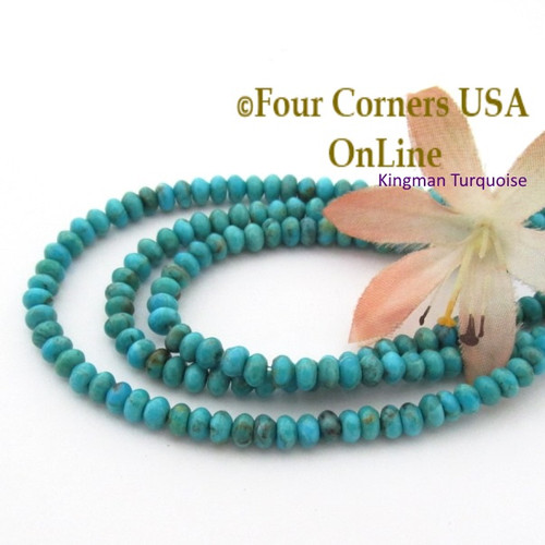 4mm Rondelle Kingman Blue Turquoise Beads 16 Inch Strands TQ-17118 Four Corners USA OnLine Jewelry Making Supplies