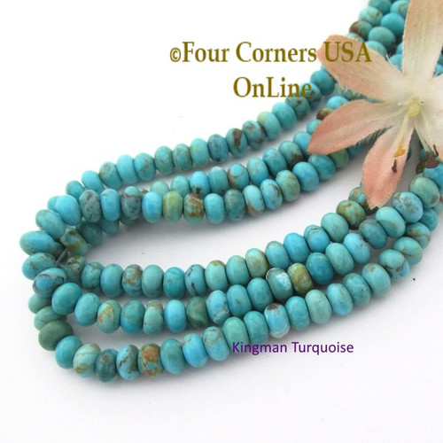 6mm Rondelle Kingman Blue Turquoise Beads 16 Inch Strands TQ-17119 Four Corners USA OnLine Jewelry Making Supplies